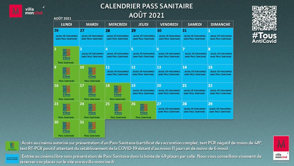 Pass sanitaire Août 2021
